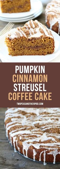 Pumpkin Cinnamon Streusel Coffee Cake the perfect fall treat! Enjoy for breakfast, brunch, or dessert! You will love the streusel topping and glaze!