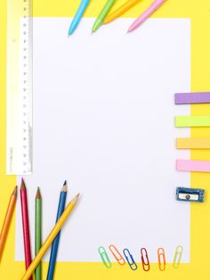Colorful School Season Stationery Promotional Posters Background Template - Home School Whats Wallpaper, Cute Wallpaper Backgrounds, Simple Background Images, Geometric Background, Powerpoint Background Design, Background Templates, Borders For Paper, Borders And Frames, Image Crayon