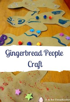 Fun gingerbread craft for toddlers and preschoolers #finemotorskills