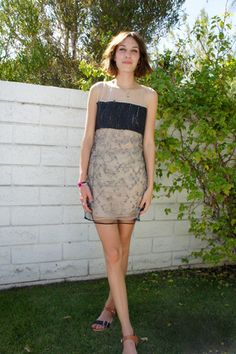 The ever-lovely Alexa Chung in an embroidered sheath dress at Mulberry's poolside party.