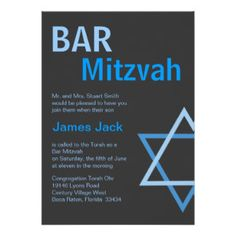 Modern Bar Mitzvah Invitiation- Blue & Grey Custom Announcements