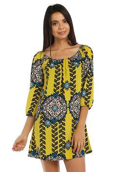 BAKIT MANDALA PRINT CHIFFON PLEATED SHIFT DRESS-Yellow