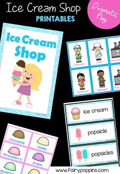 Ice Cream Shop dramatic play center and printables ~ Fairy Poppins Play Ice Cream, Ice Cream Stand, Ice Cream Theme, Early Learning Activities, Kindergarten Activities, Summer Activities, Preschool Lessons, Therapy Activities, Educational Activities