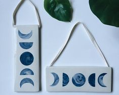 Moon Phase Wall Hanging. Ceramic/pottery/porcelain wall decor/art