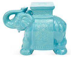 One Kings Lane - The Power of Pairs - Elephant Stool, Aqua