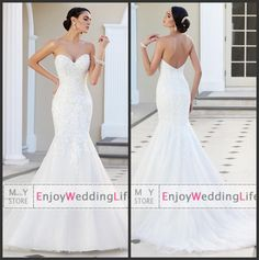 Wholesale Sweetheart Lace - Buy Elegant Sexy Sweetheart Lace Mermaid Wedding Dresses 2015 Tulle Lace Applique Beaded Court Train Bridal Gowns V1386, $143.54   DHgate