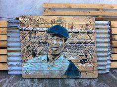 Stencil on pallet wood