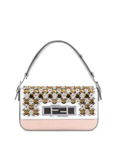 New Baguette Jeweled Shoulder Bag, White/Gray/Multi by Fendi at Neiman Marcus.