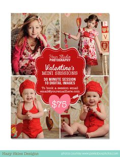 Valentine's Day Mini Session Photography Marketing Template  - AD113 - Instant Download. $7.50, via Etsy.