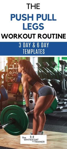 This is a simple push pull legs workout plan that you can do at the gym or at home - including a 3 day and 5 day routine you can do based on your schedule. Get started today! Push Pull Workout Routine, Push Pull Legs Workout, 5 Day Workout Plan, Push Workout, Leg Routine, Workout Splits, Leg Day Workouts, Workout Routines For Women, Workout Plan For Women