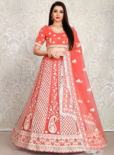 "Indian designer lehenga shop Online. Lehenga : Febric - Heavy soft net Inner - Heavy japan sartin Size - 42"" and Height 42"" Stitching - Standard Kan kan and Canvas Attached . Work - Detailing thread work Dupatta : Febric - Heavy Bridal Net Size - 2.30'' Meter long with covering and butta work. Indian Wedding Lehenga, Div Style, Ghagra Choli, Thread Work, Serif Font, Sans Serif, Arial Helvetica, Short Sleeve Dresses, Bridesmaid"