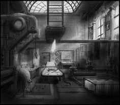 Frankenstein's lab Final BW by alexnegrea.deviantart.com on @deviantART