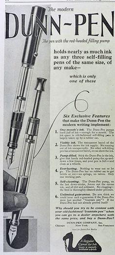 1923 Dunn Pen Ad ~ Red Headed Filling Pump