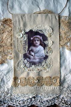 Sweet Leslie Fabric  flag OOAK using vintage laces. $19.95, via Etsy.