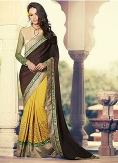 Modern Brown and musterd georgette party wear designer saree