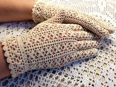 Flower Patterned Gloves - Bright White Vintage Crochet Gloves Pattern                                                                                                                                                                                 More