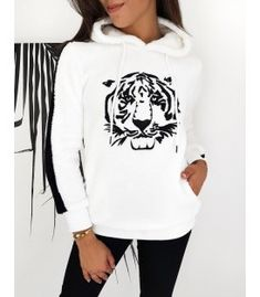 Biela dámska mikina Tiger Hoodies, Sweatshirts, Graphic Sweatshirt, Sweaters, Fashion, Moda, Fashion Styles, Parka, Trainers