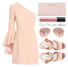 """""""One-shoulder dress"""" by simona-altobelli ❤ liked on Polyvore featuring MICHAEL Michael Kors, Miu Miu, Ray-Ban, Exclusive for Intermix, Bare Escentuals, Pink, dress, MyStyle and polyvorecontest"""