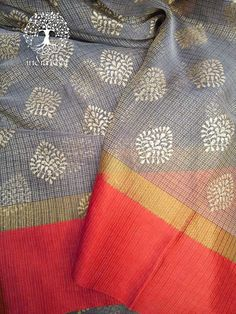 Elegant Kota & Tissue Saree with Khari block print ( without BP)