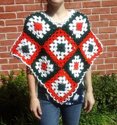 Christmas Poncho - Square Motif Crochet Poncho in Red Green White - Christmas Gift for her - Bohemian Gift for her - Red poncho by ElenisCrochet on Etsy