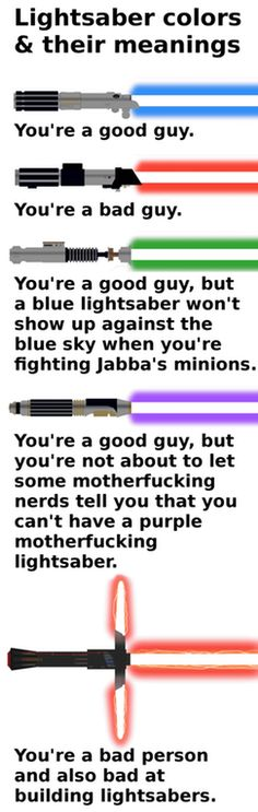 Lightsaber colors and their meanings : SequelMemes
