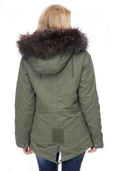 Damen-Winterparka - Parka olivegrün khaki