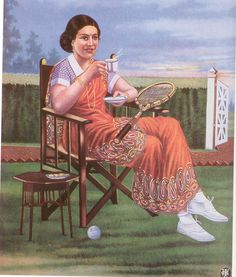 The modern girl plays tennis and drinks tea - in a saree....