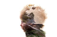 Double exposure of a son and his favorite beach - via Reddit