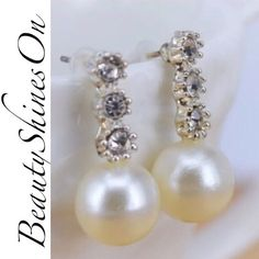 Rhinestone & Pearl Drop Earrings Rhinestone & faux Pearl drop earrings. Classic & elegant. Will go from day to night! New. No Trades. Price firm unless bundled. All sales final. Ask questions prior to purchasing. I want happy customers! Thanks for visiting & Happy Poshing! Boutique Jewelry Earrings