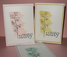 Stampin' Up! Happy Watercolour ... so so easy ... make a set for a gift  #stampinup #happywatercolor #quickandeasy