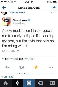 Gerard's tweets are frickin HYSTERICAL