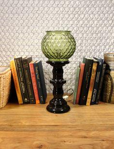 Avocado Glass Lamp Globe Vase Bowl Upcycled Vintage Green by SoEco