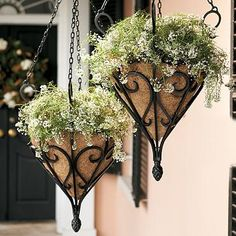 Antique Hanging Planter with Coco Liner - so pretty and timeless.