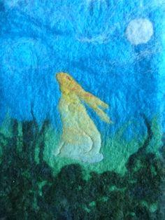 Hare by Moonlight - Hand Felted Wall Hanging by LittleDeb Rainbow Palette, Felt Wall Hanging, Moonlight Painting, Felt Pictures, Needle Felting Tutorials, Wet Felting, Felt Art, Fabric Art, Hare