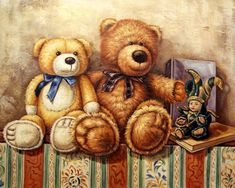 Детское Buy Paintings, Watercolor Paintings, Bear Watercolor, Decoupage, Surrealism Painting, Vintage Teddy Bears, Bear Art, Christmas Images, Pictures To Paint
