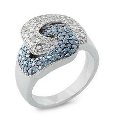 #Malakan #Jewelry - Platinum-Silver Treated Blue Diamond Ladies Ring 88260B2 #Fashion #FashionRings #WomensFashion