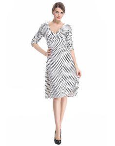 White V Neck Polka Dots Vintage Swing Dress, White, VICONE | VIPme