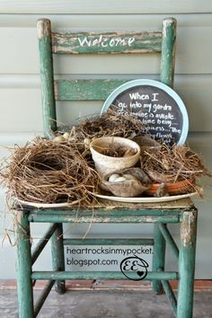 Nests on an old chair vignette by Heart Rocks in my Pocket