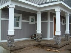 Columns for porch at entry way and corners.