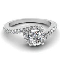 Round Cut Swirl Designer Diamond Engagement Ring