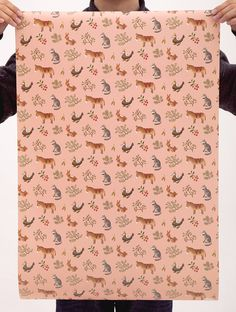 Farm Animals Wrapping Paper Peach by clapclapdesign on Etsy