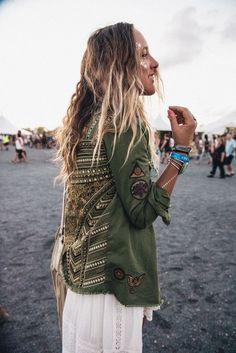 $50 - $150 Cool Khaki Camo Green Embellished Gold Tribal Boho Chic Embroidered Style Jacket White Lace Detail Dress Gold Shimmer Sparkle Glitter Face Makeup Tumblr