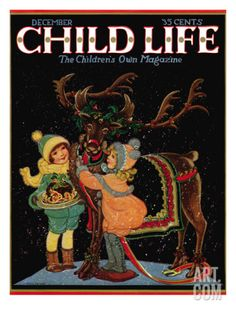 Dressing the Reindeer - Child Life, December 1925 Giclee Print