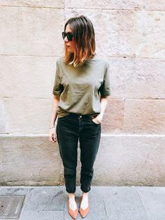 Working girl style by Morgane : denim Bershka + tee Uniqlo + ballerina Bimba y Lola #teampotoroze khaki style inspiration, work outfit, look for work, tenues professionnelles, looks de oficina