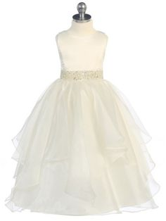 Prettyflowergirl.com $49.99 Ivory Asymmetric Ruffles Satin/Organza Flower Girl Dress (Sizes 2-12 in 6 Colors)