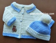 """Crochet coat-bobble hat a free crochet pattern for a 20"""" chest 6-12 month baby, made in a worsted weight #3 yarn on a 4.00mm crochet hook................."""