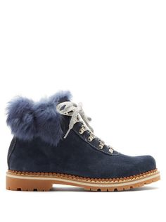 Fur-Trimmed Suede Lace-Up BootsMontelliana LNEShaQ9