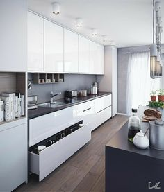 Kitchen Interior Remodeling VWArtclub - Kitchen 01 - VWArtclub *Members is a place where many and great designers promotes their artworks. Only high quality projects are included here. A art gallery well organized in many categories. Modern Kitchen Interiors, Luxury Kitchen Design, Kitchen Room Design, Modern Kitchen Cabinets, Kitchen Cabinet Design, Home Decor Kitchen, Interior Design Kitchen, Home Kitchens, Kitchen Walls