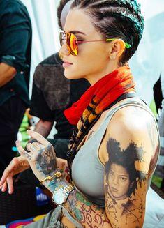 Coachella 2016, Ruby Rose Style, Rose Hair, Orange Is The New Black, Inked Girls, Girl Crushes, Girl Tattoos, Beautiful People, Short Hair Styles