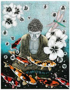 Buddha painting with dragonflies and koi fish. Lotus Buddha, Art Buddha, Buddha Kunst, Buddha Zen, Buddha Painting, Gautama Buddha, Buddha Buddhism, Buddhist Art, Tao